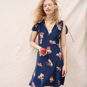 Madewell Silk Blue Poppy Floral Dress